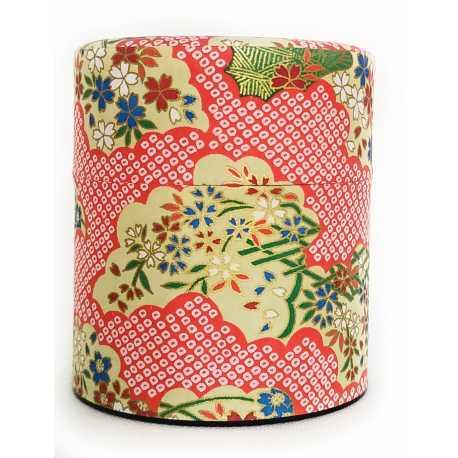 Scatola porta tè_ Japan rosso con fiori 150gr.